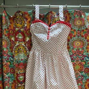Retro style polka dotted red and white dress!